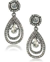 ABS By Allen Schwartz - Set In Stone Crystal Double Teardrop Earrings - Lyst