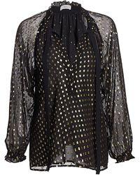 A.L.C. Winona Metpolka Dot Tie-neck Silk Blouse - Black