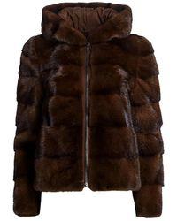 Saks Fifth Avenue Hooded Mink Fur Jacket - Black