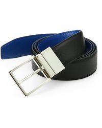 Saks Fifth Avenue   Two-toned Reversible Saffiano Leather Belt   Lyst
