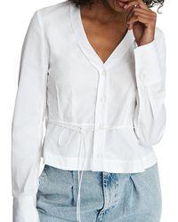 Rag & Bone Victorine Tied Peplum Shirt - White