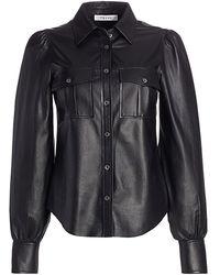 FRAME Fem Leather Military Shirt - Black