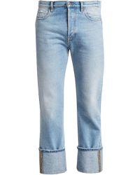 Valentino Cuffed Straight-leg Jeans - Blue