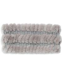 Glamourpuss Women's Rabbit Fur, Wool & Cashmere Headband - Black - Gray