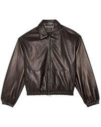 Theory Cropped Leather Bomber Jacket - Black