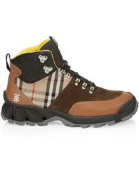 Burberry Leather, Vintage Check Cotton And Suede Tor Boots - Brown