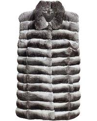 Saks Fifth Avenue Collared Chinchilla Fur Vest - Natural