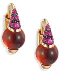 Pomellato - M'ama Non M'ama Hessonite Garnet, Pink Sapphire & 18k Rose Gold Leverback Earrings - Lyst