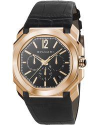BVLGARI - Octo 18k Rose Gold & Black Alligator Strap Watch - Lyst