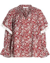 See By Chloé Floral Ruffle Shoulder Blouse - Red