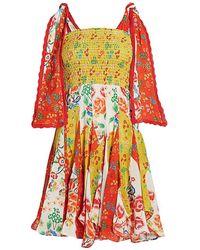 All Things Mochi Natalia Tie Strap Flora Mini Dress - Red