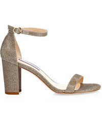 Stuart Weitzman Nearlynude Block-heel Glitter Sandals - Multicolor
