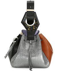 Ganni Small Colorblock Leather Bucket Bag - Multicolor