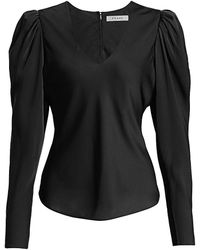 FRAME Shirred Puff Sleeve Silk Blouse - Black