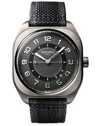 Hermès H08 39mm Titanium & Fabric Strap Watch - Black