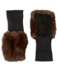 Glamourpuss Rabbit Fur & Suede Knit Fingerless Mittens - Brown