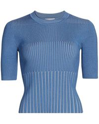 7 For All Mankind Verigated Ribbed Short-sleeve Top - Blue