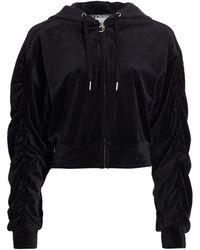 Juicy Couture Velour Shirred Hoodie - Black