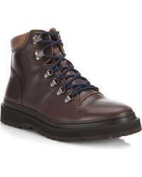 Brunello Cucinelli   Round Toe Leather Hiking Boots   Lyst