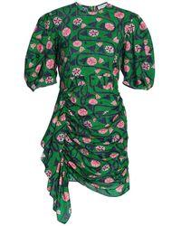 RHODE Pia Puff-sleeve Cotton Dress - Green
