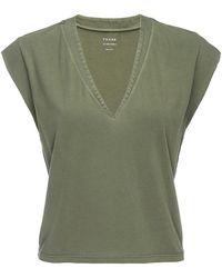 FRAME Le High Rise V-neck Tee - Green