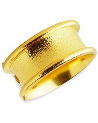 Elizabeth Locke Gold 19k Yellow Gold Hinged Amulet Wide Bangle - Metallic