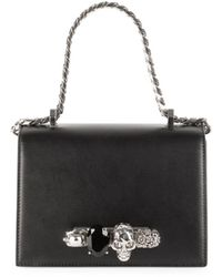 Alexander McQueen Small Jeweled Knuckle Flap Shoulder Bag - Black