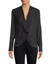 L'Agence - Mariposa Plunge Silk Blouse - Lyst