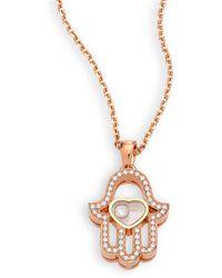 Chopard Happy Diamonds Pave Hamsa Hand Diamond & 18k Rose Gold Pendant Necklace - Metallic