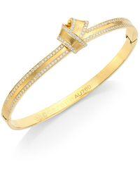 Carelle Knot Diamond-trim 18k Yellow Gold Bangle - Metallic