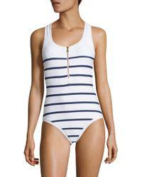 Heidi Klein - One-piece Textured Binding Nautical Swimsuit - Lyst