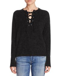 360cashmere Dylan Lace Up Sweater - Black