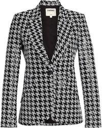 L'Agence Chamberlain Sequined Houndstooth Blazer - Black