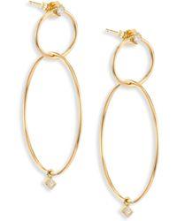 Zoe Chicco - Diamond & 14k Yellow Gold Double-circle Drop Earrings - Lyst