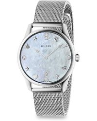 77d9fb265c4 Gucci - G-timeless Diamond Mother-of-pearl Mesh Bracelet Watch - Lyst