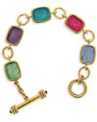 Elizabeth Locke Venetian Glass Intaglio 19k Yellow Gold Bright Pastel Antique Animals Toggle Bracelet - Metallic