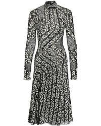 Proenza Schouler Printed Chiffon Panel Stretch-silk Dress - Black