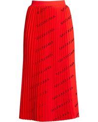 Balenciaga - Logo Pleated Midi Skirt - Lyst