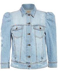 retroféte Ada Puff-sleeve Distressed Denim Jacket - Blue