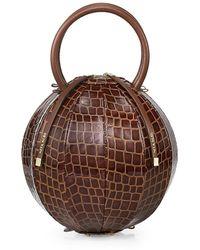 Nita Suri Pilo Croc-embossed Leather Cage Top Handle Bag - Brown