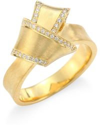 Carelle - Jumbo Knot Diamond-trim 18k Yellow Gold Ring - Lyst