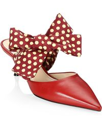 Prada - Point Toe Mules With Bow - Lyst