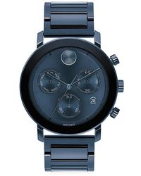 Movado Bolt Stainless Steel Bracelet Chronograph Watch - Blue