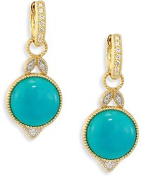 Jude Frances - Lisse Diamond, Turquoise & 18k Yellow Gold Round Earring Charms - Lyst