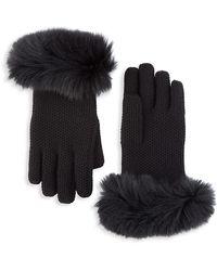 Loro Piana Guanto Fox Fur-trimmed Crochet Gloves - Black
