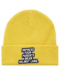 Helmut Lang Impress Slogan-print Knit Beanie - Yellow