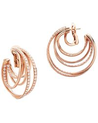 De Grisogono Allegra 18k Pink Gold & Diamond Hoop Earrings - Metallic