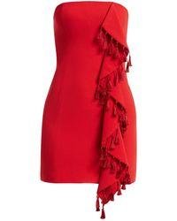 Cinq À Sept Nat Tassel & Ruffle Mini Dress - Red
