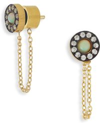 Ileana Makri - Sun Chained White Sapphire & Opal Stud Earrings - Lyst