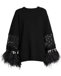 Valentino Virgin Wool & Cashmere Feather-trimmed Tunic - Black